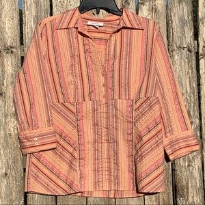 Peach and Grey Stripe Blouse